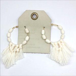 NWT Anthropologie White Tassels Hoop Earrings